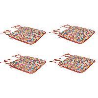Coussin D'exterieur - Coussin De Bain De Soleil - Coussin De Chaise De Jardin Set de 4 galettes de chaises carrees Sol - 40x40 cm - Rouge et multicolore