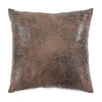 Coussin Et Housse Coussin Havane aspect cuir vieilli - 40 x 40 cm - Gris Aucune