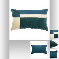 Coussin Et Housse Coussin Patch en velours coton - 30 x 50 cm - Bleu