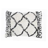 Coussin Et Housse Coussin berbere Losange - 30 x 50 cm - Blanc naturel et noir