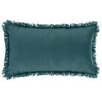 Coussin Et Housse Coussin déhoussable avec contour frange - 30 x 50 cm- Bleu canard