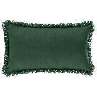 Coussin Et Housse Coussin déhoussable avec contour frange - 30 x 50 cm - Vert sapin