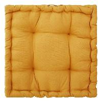 Coussin Et Housse Coussin de sol en coton - 40 x 40 x 8 cm - Ocre