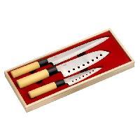 Couteau De Cuisine LA CUISINE D'ALBERT Coffret de couteaux 3 pieces Kiru 24-30-32 cm beige