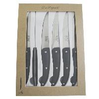 Couteau De Table Coffret de 6 couteaux steaks Lame lisse Gamme Prestige - Noir