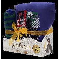 Couverture - Edredon - Plaid WARNER Coffret plaid polaire et coussin Harry Potter - 100x130 - 35x35 cm - Bleu