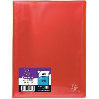 Couverture - Protege-document EXACOMPTA Protege documents soude - 210 x 297 mm - 40 vues Pochettes cristal lisses - Polypropylene lisse brillant 5-10 eme - Rouge