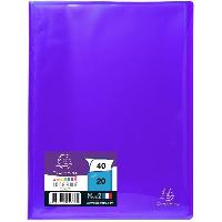Couverture - Protege-document EXACOMPTA Protege documents soude - 210 x 297 mm - 40 vues Pochettes cristal lisses - Polypropylene lisse brillant 5-10 eme - Violet