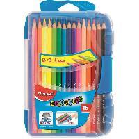 Crayon De Couleur - Craie Grasse Boite Plastique de 15 Crayons de Couleur Color'peps
