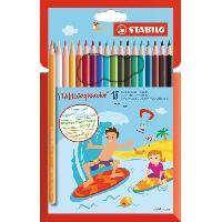 Crayon De Couleur - Craie Grasse Etui de 18 crayons de couleur Aquarellable AQUACOLOR Mine 2.8 mm - Stabilo