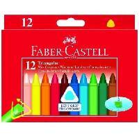Crayon De Couleur - Craie Grasse FABER-CASTELL Etui de 12 Craies a la cire triangulaires - Coloris assortis