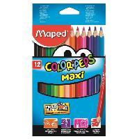 Crayon De Couleur - Craie Grasse MAPED Boîte Carton de 12 Crayons de Couleur Color'peps Maxi
