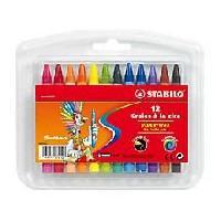 Crayon De Couleur - Craie Grasse STABILO - 12 Craies a la cire Yippy Wax