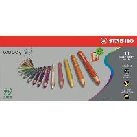 Crayon De Couleur - Craie Grasse STABILO - Etui carton - lot de 18 crayons de couleur multi-talents  - 1 taille-crayon