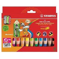 Crayon De Couleur - Craie Grasse STABILO Boîte carton de 10 Crayons Woody + 1 Taille-crayon avec sécurité enfant