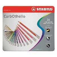Crayon De Couleur - Craie Grasse STABILO CarbOthello - Boîte métal - lot de 24 crayons de couleur fusain pastel