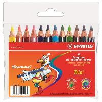 Crayon De Couleur - Craie Grasse STABILO Trio court - Pochette de 12 crayons de couleur