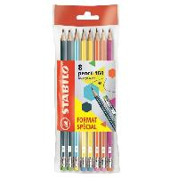 Crayon Graphite - Mine  STABILO Ecopack x 8 crayons Graphite Pencil 160 bout gomme HB
