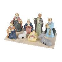 Creche De Noel AUTOUR DE MINUIT Scene nativite 8 santons porcelaine - H 8.5cm - Aucune