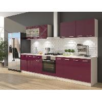 Cuisine Complete ULTRA Cuisine complete avec meuble four et plan de travail inclus L 300 cm - Aubergine brillant