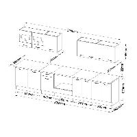 Cuisine Complete ULTRA Cuisine complete avec meuble four et plan de travail inclus L 300 cm - Noir brillant