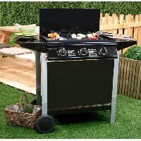 Cuisine Exterieure ANDALOUCIA Barbecue a gaz + Plancha 3 bruleurs sur chariot - Fonte emaillee Grill Garden