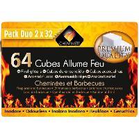 Cuisine Exterieure CHEMINETT Allume feu cubes blancs en paraffine - 64 cubes - double plaque predecoupee