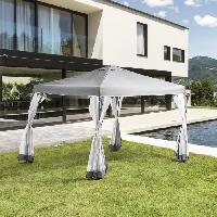 Cuisine Exterieure Gazebo - 3 x 3 m - Avec Moustiquaire - Structure Acier et Toile Polyester - Gris