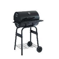 Cuisine Exterieure JAMES Barbecue a charbon avec couvercle type fumoir - 2 roues et tablettes - 44 x 37 cm - Noir