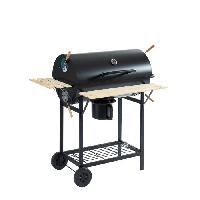 Cuisine Exterieure JOHN Barbecue a charbon avec couvercle type fumoir - 2 roues + tablettes - 70.5 x 37 cm - Noir