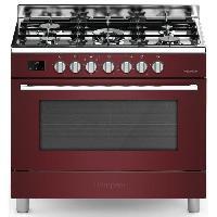 Cuisiniere - Piano De Cuisine BOMPANI BOMFE96BX - Cuisiniere table gaz-5 foyers-Four electrique-Catalyse-119L-L 90 x H 85 cm-Bordeaux
