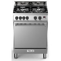 Cuisiniere - Piano De Cuisine BOMPANI BTECH66IX - Cuisiniere table gaz - 4 foyers - Four electrique multifonction - Catalyse - 58 L - B - L 60 x H 80 cm - Noir