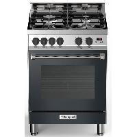 Cuisiniere - Piano De Cuisine BOMPANI BTECH66NR - Cuisiniere table gaz - 4 foyers - Four electrique multifonction - Catalyse - 58 L - B - L 60 x H 80 cm - Inox