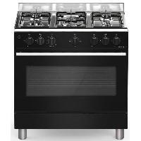 Cuisiniere - Piano De Cuisine BOMPANI CDBG85NR - Cuisiniere table gaz-5 foyers-Four gaz-Catalyse-74L-L 80 x H 84 cm-Noir