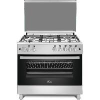 Cuisiniere - Piano De Cuisine HUDSON HCU-90I - Cuisiniere gaz 5 zones - Allumage automatique - L 90 x H 90 cm - Four electrique - 126 L - B - Inox