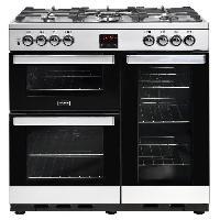 Cuisiniere - Piano De Cuisine PCITY90DFTSS-Cuisiniere table de cuisson gaz-5 foyers-Four electrique 3 cavites-35L-62L-91L-A-L90 x H92.2 cm-Inox et noir