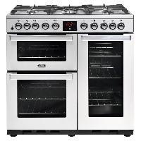 Cuisiniere - Piano De Cuisine PCOOK90DFTSS Piano de cuisson a gaz - 5 foyers - Four electrique - Chaleur pulsee - 91 L - Noir