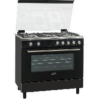 Cuisiniere - Piano De Cuisine PMONOC90DFTBL-Cusiniere table gaz-5 bruleurs-Four electrique-Catalyse-116 L-A-L 90 x H 93 cm-Noir