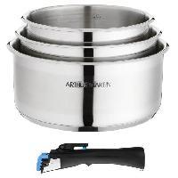 Cuisson Des Aliments ARTHUR MARTIN 5531 Set de 3 casseroles Inox 16-18-20 cm + 1 poignee - Tous feux dont induction