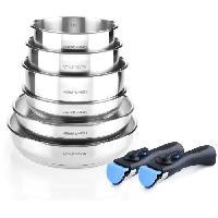Cuisson Des Aliments ARTHUR MARTIN AM5538 - Batterie de cuisine 8 pieces Inox - 3 poeles. 3 casseroles. 2 poignees - Tous feux dont induction