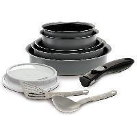 Cuisson Des Aliments EASYCOOK Batterie de cuisine Set 10 pieces - Gris