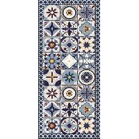 Deco - Linge - Luminaire AASTORY Tapis 100% vinyle - Imitation carreaux de ciment - 1.5 mm - 49.5 x 112 cm - Mutlicolore - Made In France