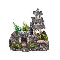 Decoration Artificielle - Resine - Led - Fond De Decor NOBBY Aqua Deco Asian temple 185 x 142 x 170mm pour aquarium