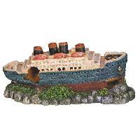 Decoration Artificielle - Resine - Led - Fond De Decor NOBBY Aqua Deco Titanic 265 x 100 x 120mm pour aquarium