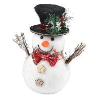 Decoration De Noel AUTOUR DE MINUIT Bonhomme de neige avec chapeau et noeud - H 21cm