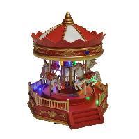 Decoration De Noel AUTOUR DE MINUIT Carrousel chevaux animé - H 24cm