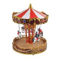 Decoration De Noel AUTOUR DE MINUIT Carrousel chevaux animé - H 27cm