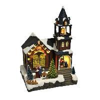 Decoration De Noel AUTOUR DE MINUIT Eglise avec sonneur animé - H 32cm