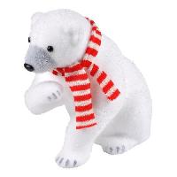 Decoration De Noel AUTOUR DE MINUIT Ours asssis avec écharpe blanc et rouge - H 29cm
