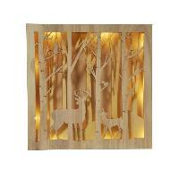 Decoration De Noel AUTOUR DE MINUIT Scene foret lumineuse en bois - 25 cm